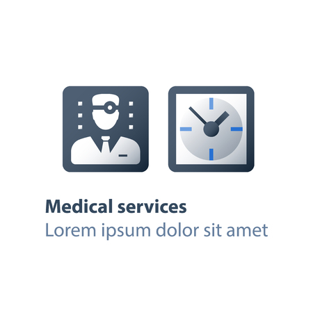 Doctor appointment time, annual health check up, regular medical exam, healthcare services, fast help, physician or general practitioner assistance, vector flat icon