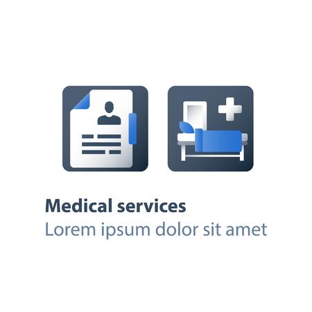 Lit d'hôpital, assistance médicale, hospitalisation et traitement, thérapie stationnaire, lit bébé en salle, salle de chirurgie, icône plate de vecteur Vecteurs