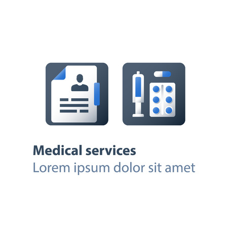 Pharmacy and medicine, medical drugs, antibiotics capsule, painkiller pills, syringe and tablet bar, preventive vaccination, medication therapy, health care services, vector flat icon Illustration