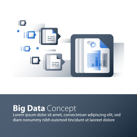 Analyse de données volumineuses, collecte et traitement d'informations, graphique de rapport, technologie d'entreprise, icône de vecteur, illustration plate