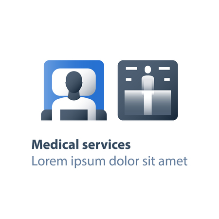 X-ray procedure, annual fluorography,  magnetic resonance imaging, medical services, health care check up, diagnosis and analysis, person examination, vector flat icon Illustration