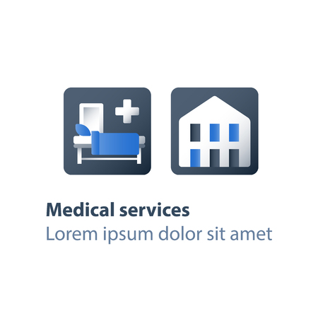Hospice services, inpatient attendance, palliation illness, medical care, hospital ward with cot, rehabilitation center, stationary therapy, health care concept, vector flat icon