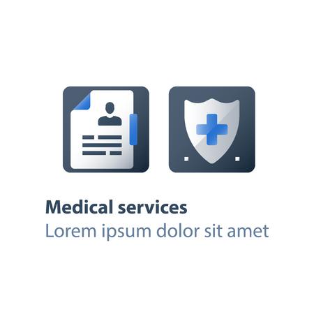 Assurance médicale, politique de soins de santé, bouclier avec croix, services hospitaliers, contrôle préventif, certificat de congé de maladie, icône plate de vecteur