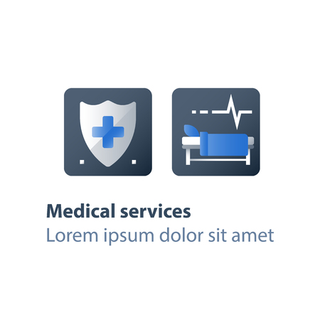 Hospital bed, medical attendance, hospitalization and treatment, stationary therapy, rehabilitation ward, hospice services, vector flat icon
