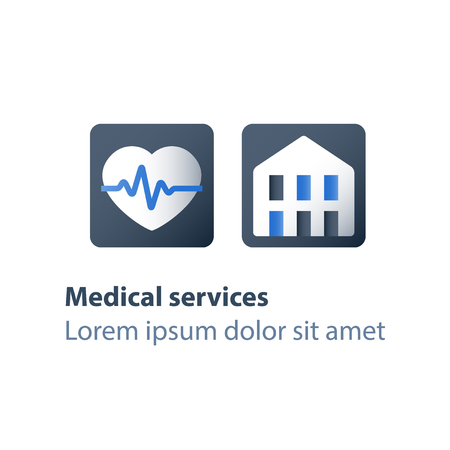 Health insurance card, health care policy concept, medical services, treatment coverage program, cardiovascular disease preventive measure, heart check up, electrocardiogram exam, vector flat icon