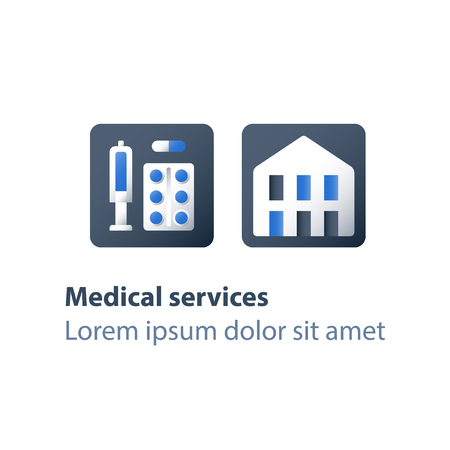 Medicine and health care, medication concept, stationary therapy, disease therapy, vaccination center, drugs rehabilitation, vector flat icon
