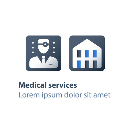 Hospital doctor, medical services, stationary treatment, rehabilitation center, health care worker, vector flat icon Çizim