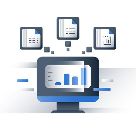 Analyse de données volumineuses, collecte et traitement d'informations, graphique de rapport, serveur de données, technologie d'entreprise, icône de vecteur, illustration plate