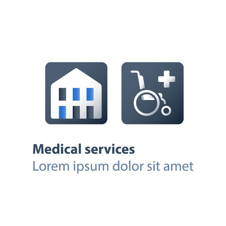 Hospital building, medical center, wheelchair sign, health care, handicapped attendance, disabled nursing services, vector flat icons