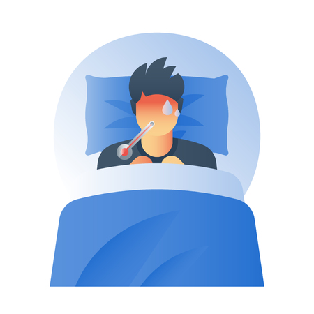 Fever concept, high temperature thermometer, sick sweating person, catch a cold, flue virus, influenza symptoms, feeling ill, hot head, immunity resistance, vector icon, flat illustration Illustration