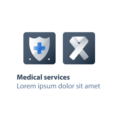 Human immunodeficiency virus, AIDS concept, medical services, health care program, preventive measures, check up clinic, medical test, white ribbon, vector flat icon
