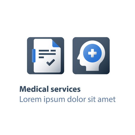 Head problem, brain disease, mental disorder, rehabilitation program, psychiatry and psychotherapy, medical exam, health check up, diagnosis document, Alzheimer concept, vector flat icon