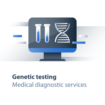 DNA testing, genetic spiral, medical test, health care, genealogical analysis services, personalized medicine concept, science and innovation, education and research, vector icon, flat illustration