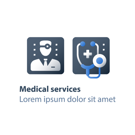 Doctor online, medical consulting, personal professional support and guidance, healthcare service concept, fast help, physician or general practitioner assistance, vector flat icon
