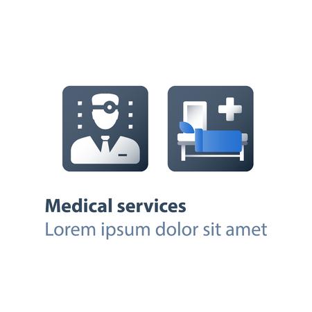 Services de soins palliatifs, assistance aux patients hospitalisés, maladie palliative, soins médicaux, salle d'hôpital avec lit bébé, centre de réadaptation, thérapie stationnaire, concept de soins de santé, icône plate de vecteur
