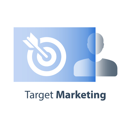 Target marketing, focus group research, customer satisfaction and retention, outbound marketing strategy, personalized advertising, recruitment and job training, skill improvement, vector flat icon  イラスト・ベクター素材