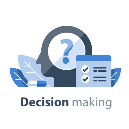 Entscheidungsfindung, kognitiver Test, Intelligenzquotient, Selbsteinschätzung, Psychotherapie- oder Psychiatriekonzept, Persönlichkeitstransformationsplan, positive Einstellung, psychische Gesundheit, Design Thinking