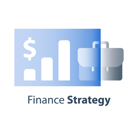 Financial strategy, company finance performance report, interest rate, long term value investment return, business revenue boost, stock market growth, mutual fund management, shareholder dividend icon