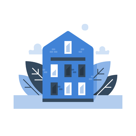 Brick terraced house, residential neighborhood, sweet home, cozy blue building exterior, real estate concept, vector icon, flat design illustration