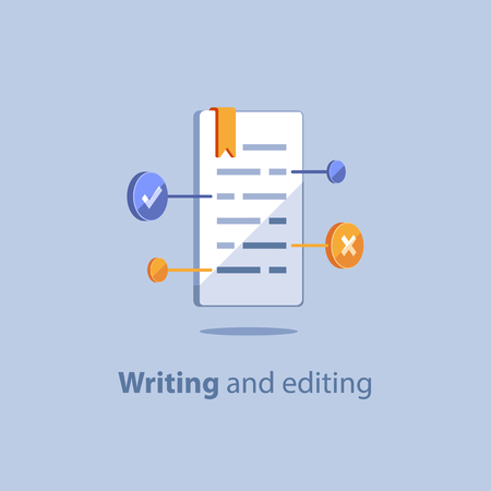 Text editing, copywriting concept, exam preparation, educational subject, book summary, creative reading, check up grammar, terms and conditions, vector icon, flat illustration
