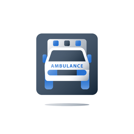 Ambulance vehicle, emergency car, health care and medical concept, fast hospitalization, vector flat icon