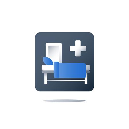 Cama de hospital, asistencia médica, hospitalización y tratamiento, terapia estacionaria, cuna en la sala, sala de cirugía, icono plano vectorial Ilustración de vector