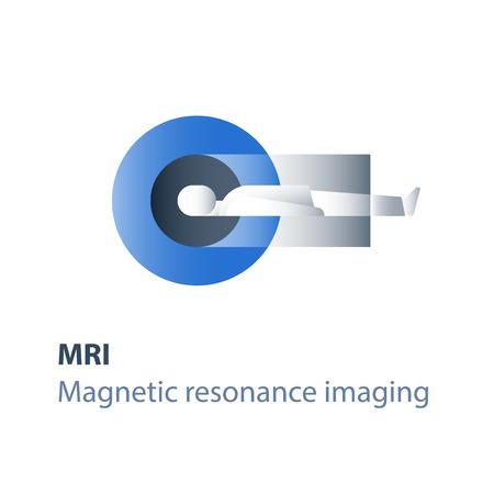 Procedimiento de resonancia magnética, servicios médicos, chequeo médico, diagnóstico y examen de la cabeza, icono plano vectorial