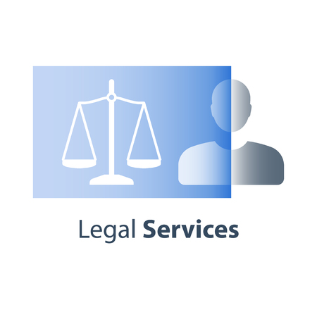 Legal services, justice concept, law education, civil rights, lawyer advice, help and guidance, vector icon, flat illustration