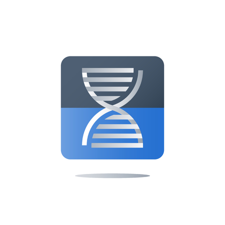 DNA testing, genetic spiral, medical test, health care, genealogical analysis services, personalized medicine concept, science and innovation, education and research, vector icon, flat illustration Foto de archivo - 106313497