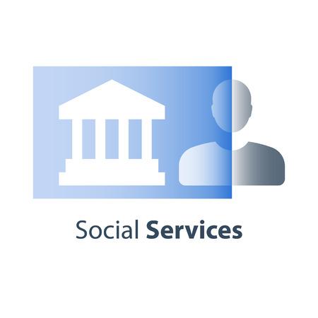 Social services, online resources, legal procedure, court house and justice, public building, civil rights, institution concept, unemployment center, municipal program, vector flat icon