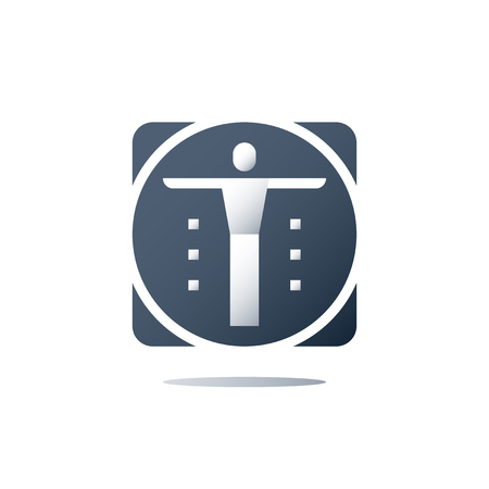 Human body inside circle, anatomy concept, yoga practice, zen like, medical diagnostic, exam and treatment, vector flat icon  イラスト・ベクター素材