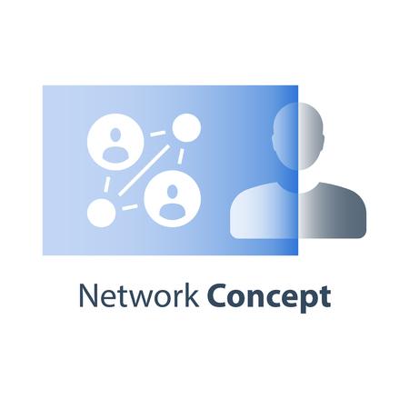 Netwerkconcept, verwijzingsprogramma, mensen verbinden, teamwerktraining voor personeel, human resources, focusgroepmarketing, persoonlijke coaching, seminarie verbetering sociale vaardigheden, workshop bedrijfskunde