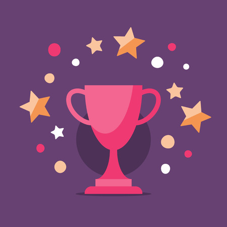 Reward program, game winner, best performance, top result, shiny trophy, award ceremony, first place cup, high score achievement, premium service concept, earn points, vector icon, flat illustration