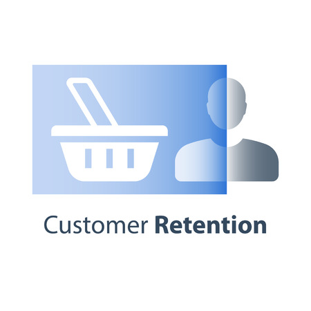 Customer retention rate improvement strategy, target marketing concept, shopping experience, abandoned cart, basket flat icon, loyalty program, sales boost, revenue increase, demand and consumption