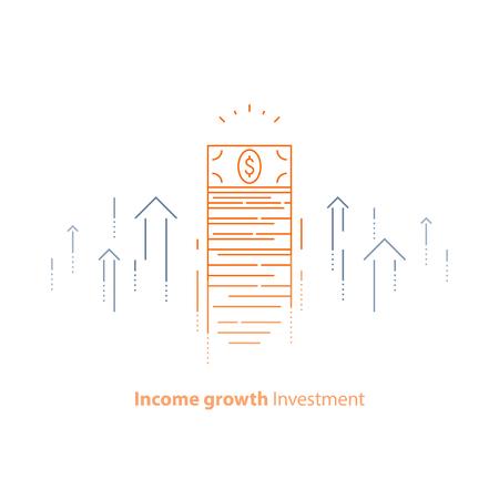 Einkommenssteigerung, Finanzstrategie, hohe Anlagerendite, Geldbündel, Mittelbeschaffung, langfristige Steigerung, Umsatzwachstum, Zinssatz, Anleihendividenden, Börse, Vektorliniensymbol Thin Stroke
