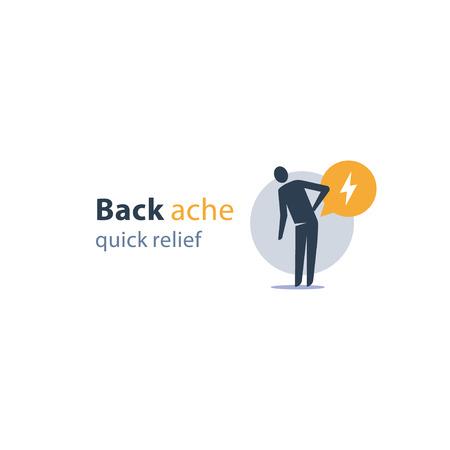 Back ache quick relief, radiculitis concept, medical remedy, feeling pain, painful symptom, health problem, vector icon Vektoros illusztráció