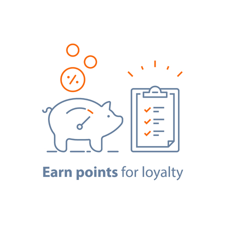 Earn points, loyalty program, piggy bank with coins and clipboard with checklist, charity donation, vector line icon, thin stroke illustration
