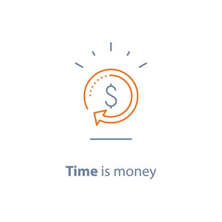 Cambio de divisas, devolución de efectivo, préstamo rápido, refinanciamiento de hipotecas, reembolso, concepto de seguro, gestión de fondos, solución comercial, servicio financiero, retorno de la inversión, mercado de valores, icono de línea vectorial