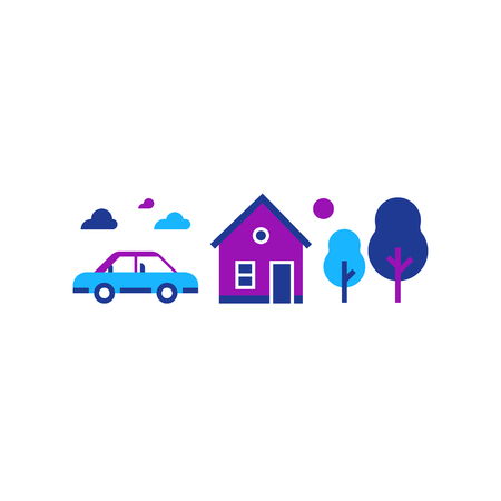 Summer house, suburban home with car, country side, real estate, vector illustration, flat icon