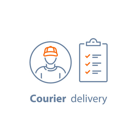 Delivery services, courier person, checklist and clipboard vector line icon, thin stroke illustration