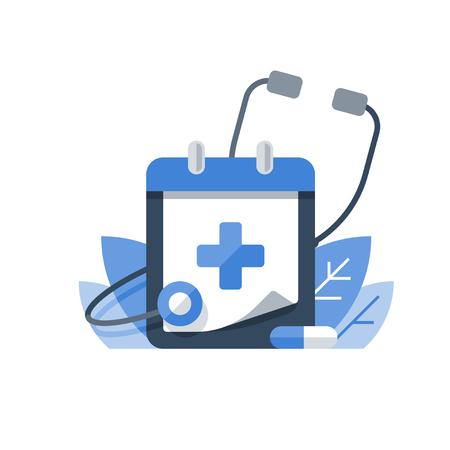 Gesundheitsprogramm, medizinische Dienste, jährliche Überprüfung, vorbeugende Untersuchung, Stethoskopvektorikone, flache Illustration