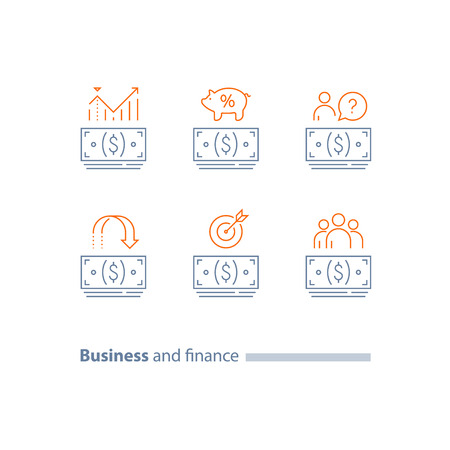 Money bundle, cash loan outline icon, investment return, refund, dividends increase, wages payment, finance analytics, pension savings account, corporate expense, vector line icon set, thin stroke