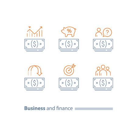 Geldbündel, Bargelddarlehens-Gliederungssymbol, Kapitalrendite, Rückerstattung, Dividendenerhöhung, Lohnzahlung, Finanzanalyse, Renten-Sparkonto, Unternehmensausgaben, Vektorlinien-Symbolsatz, dünner Strich