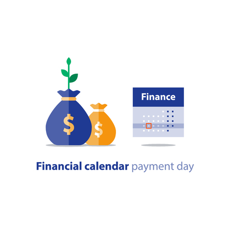 Financial calendar illustration, budget plan, payment bay, finance planner, monthly installment, time period, annual money income, vector icon