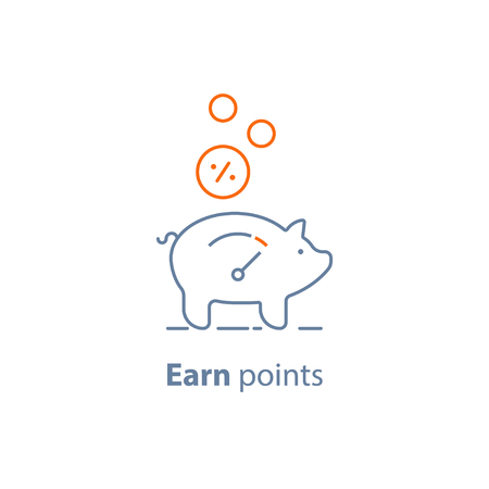 Earn points, loyalty program, piggy bank, pension savings, fund raising concept, vector line icon, thin stroke illustration