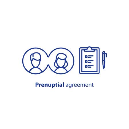 Prenuptial agreement document, couple divorce, check list clipboard, sociology concept, questionnaire form,  vector line icon  イラスト・ベクター素材