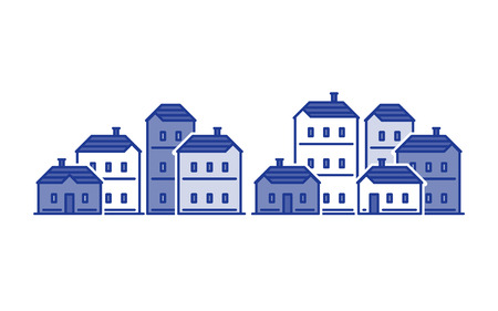 Real estate, residential district, apartment building, neighborhood concept, group of houses vector flat illustration