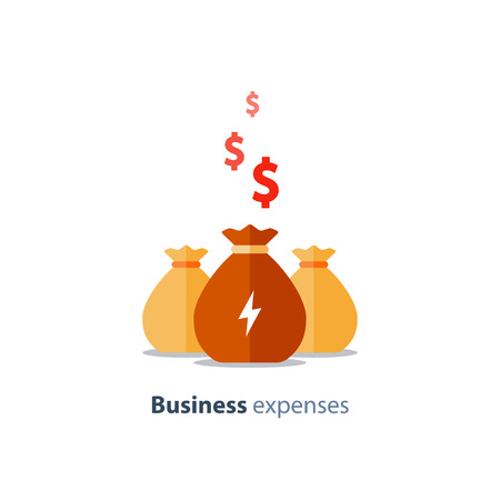 Geschäftsausgaben, Spendenaktion, Risikokapital, Vermögensbewertung, Investmentfonds, Unternehmensdividenden, langfristiges Anlageportfolio, Vektorsymbol, flache Abbildung