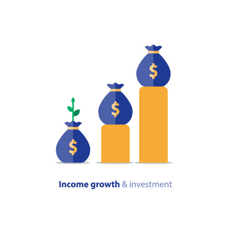 Einkommenswachstumsdiagramm, Kapitalrendite-Diagramm, Budgetfondsplanung, Umsatzsteigerung, Buchhaltungsbericht, Geschäft und Finanzen, flaches Vektorsymbol Vektorgrafik