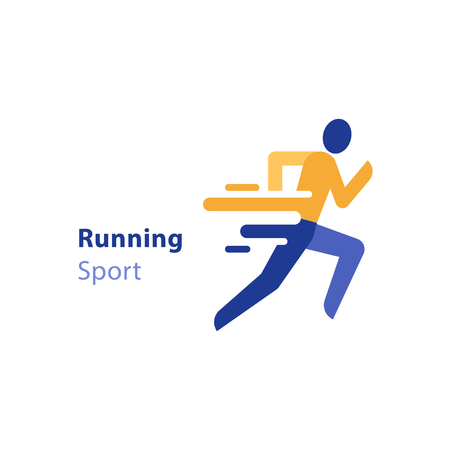 Running person side view, abstract runner icon, marathon event, sport activity, triathlon running concept, vector flat design icon